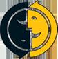 Logo ADEB. Descrição imagem: circulo dividido ao meio duas caras uma azul virada para baixo e uma amarela virada para cima.