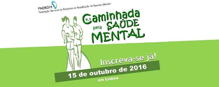 É já no dia 15 de Outubro, próximo Sábado, que a ADEB irá participar na 4ª Caminhada pela Saúde Mental, organizada pela FNERDM- Federação Nacional de Entidades de Reabilitação de Doentes Mentais