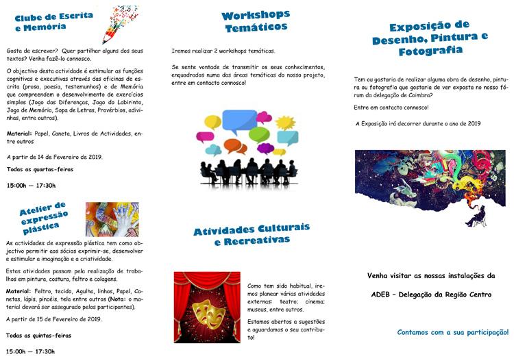 Folheto 2019 (1º Semestre) Espaço d'Arte ADEB Região Centro