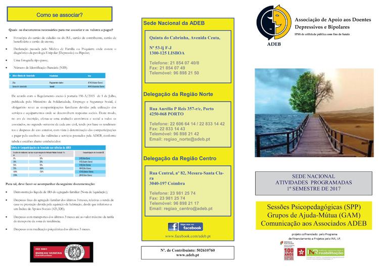 Programação da Sede Nacional da ADEB para o 1º semestre de 2017: Sessões Psicopedagógicas, Grupos de Ajuda-Mútua e Comunicação aos Associados ADEB