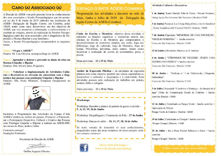 Folheto 2019 (Mai a Julho) Espaço d'Arte ADEB Região Centro